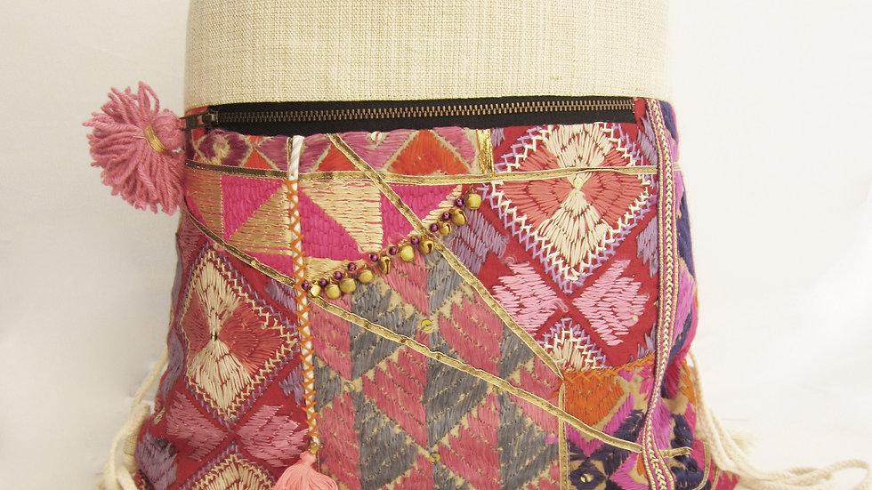Mauve upcycled Phulkari drawstring bag
