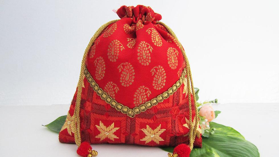 Red Brocade Phulkari potli