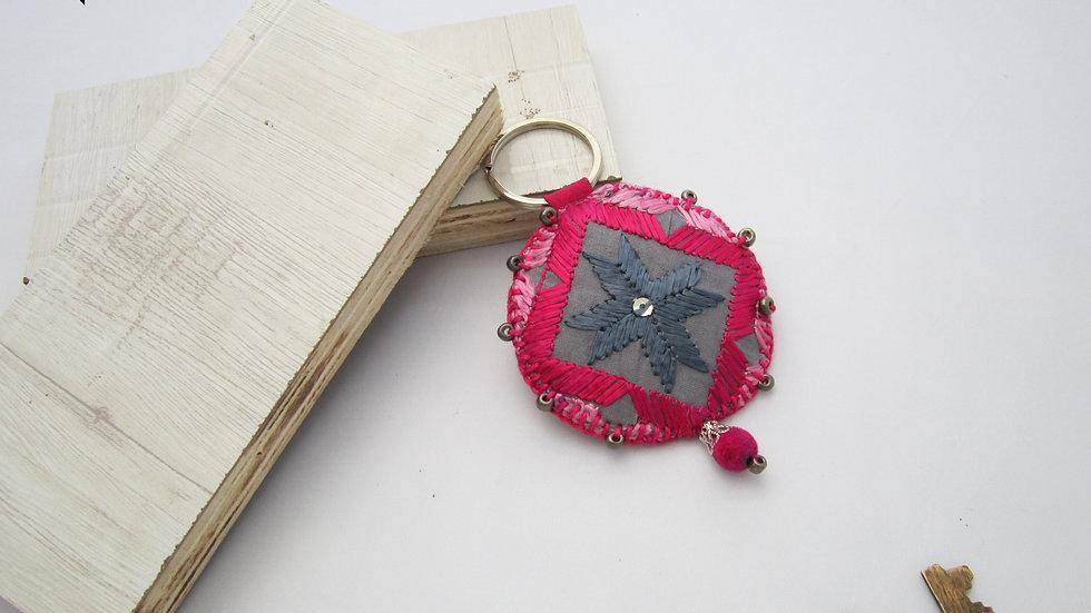 Grey and Pink Round Keychain