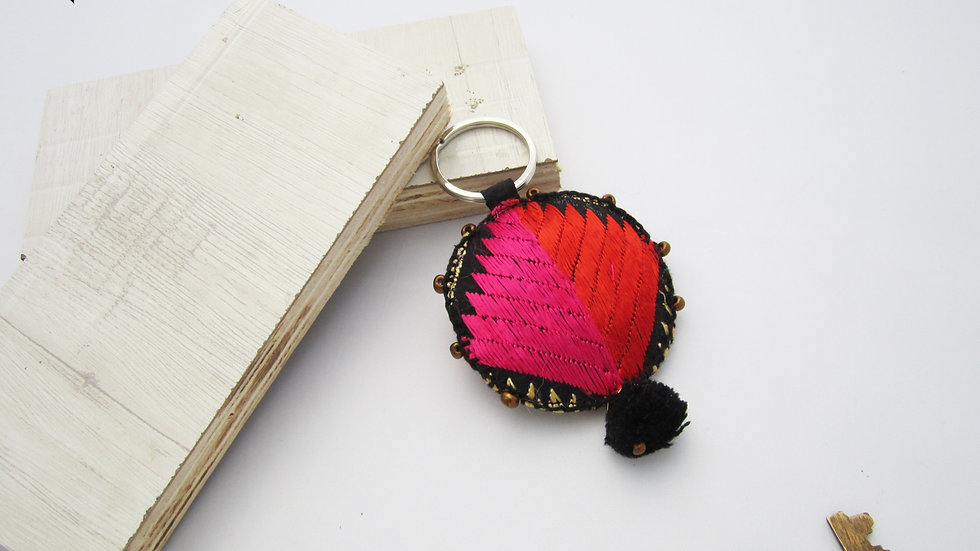 Black an Pink Round Keychain