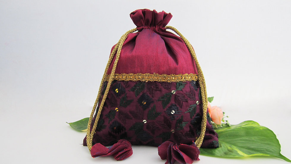 Plum and antique gold Phulkari Potli