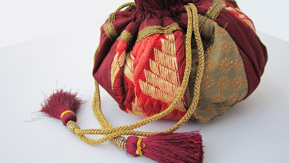 Round Maroon and Antique Gold Phulkari embroidered potli