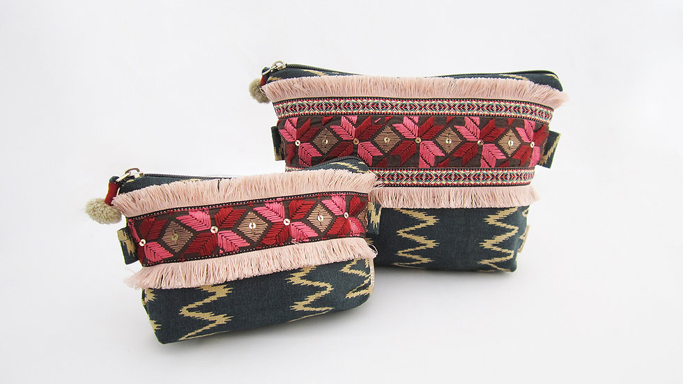 Green Zip pouches - Set of 2