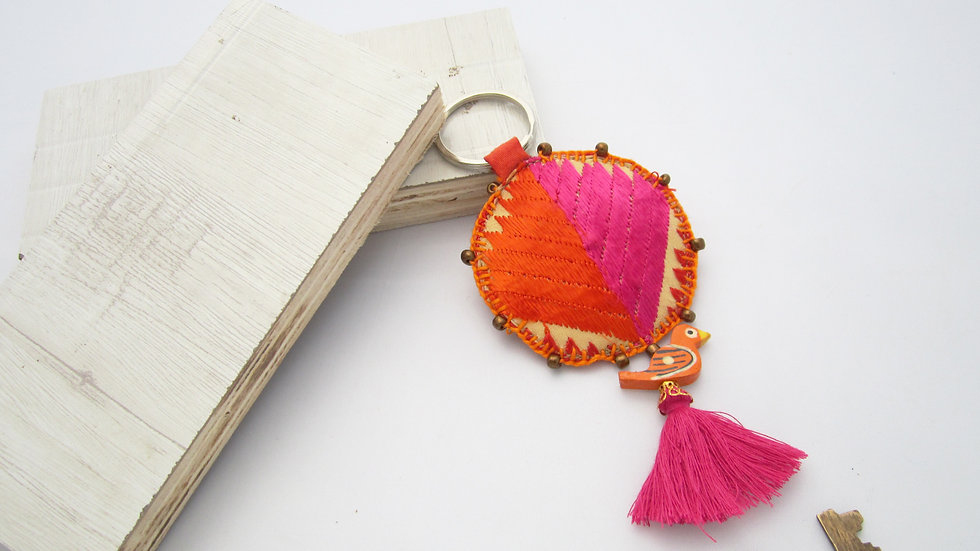 Orange and Pink Round Keychain