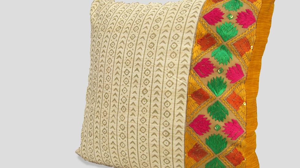 Yellow and pink Block printed paneled Phulkari cushion cover