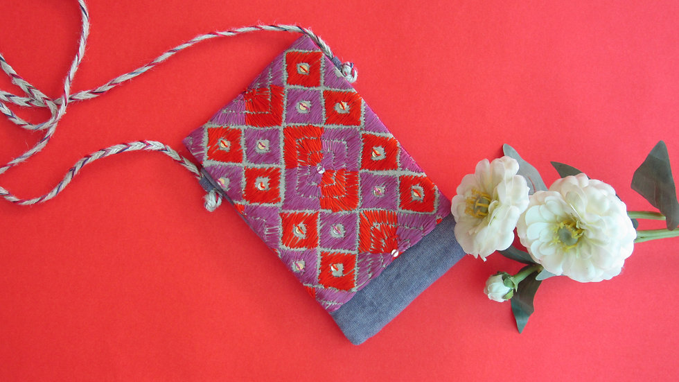 Purple Phulkari embroidered Mobile sling