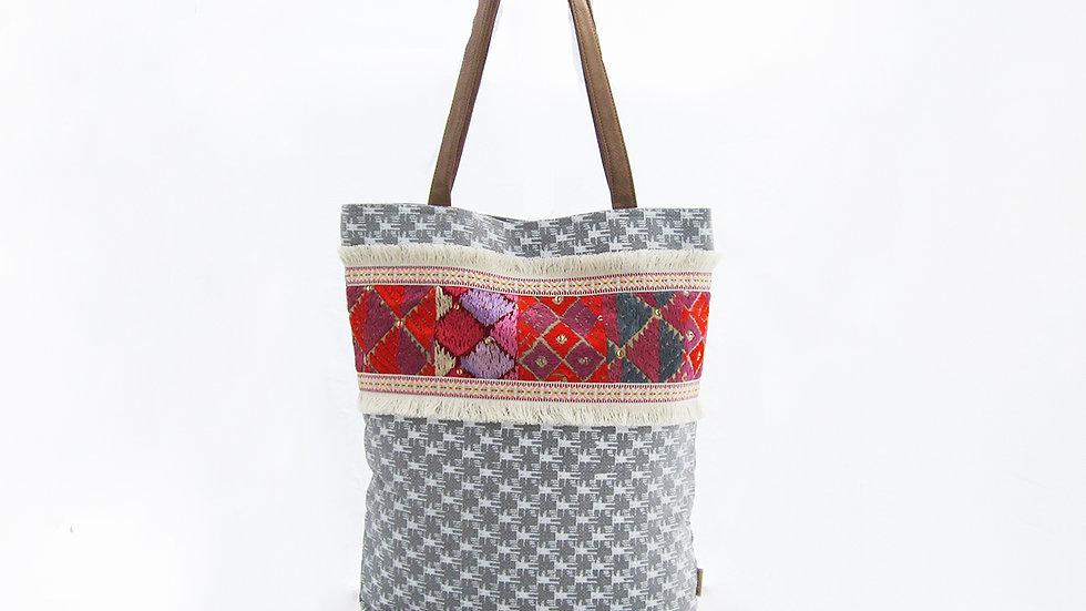 Grey Checked Cotton Canvas Tote Bag