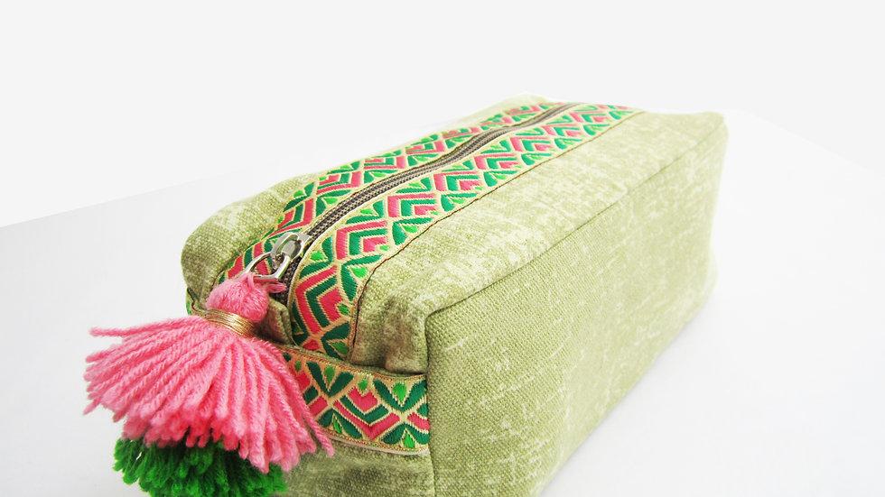 Green neon geometric lace -Boho - Travel/cosmetic kit