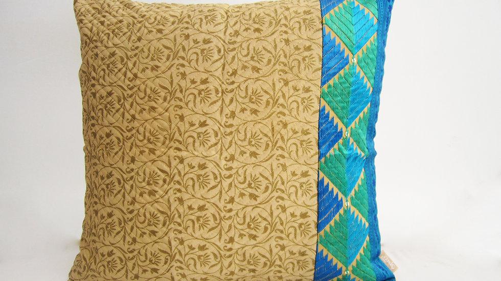 Beige and Blue block printed paneled Phulkari cushion cover