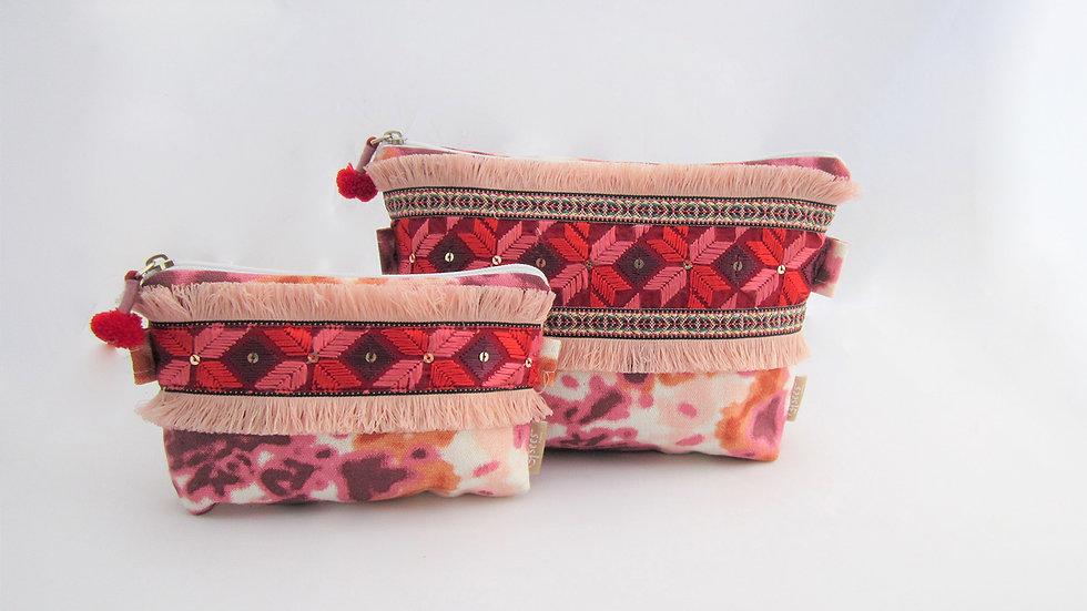 Peach pink Zip pouches - Set of 2