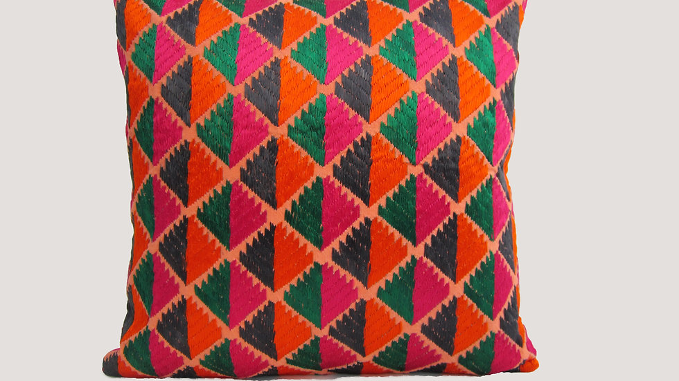 Multi color Phulkari embroidered cushion cover
