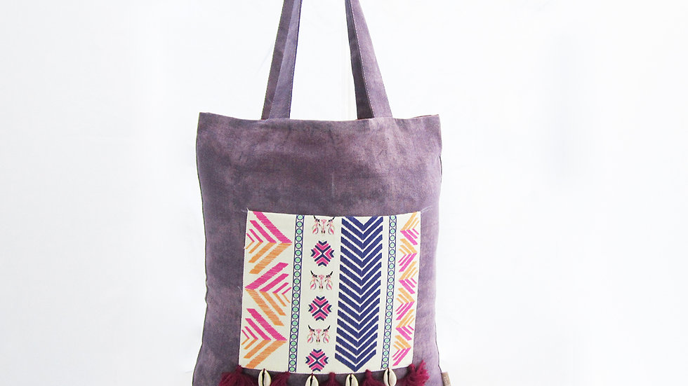 Purple Cotton and Linen Tote Bag with Front Pocket