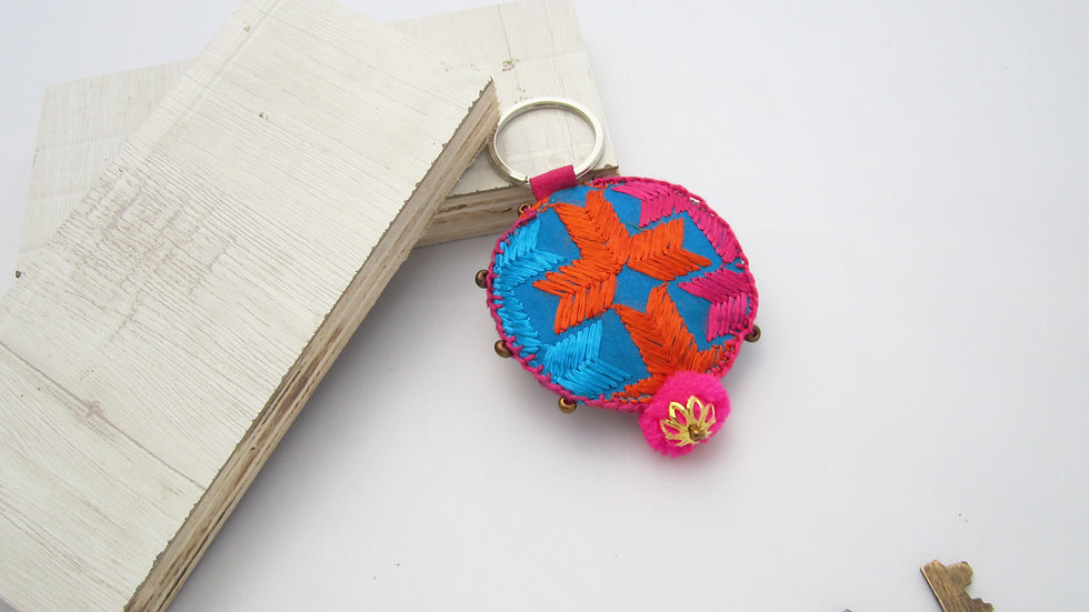 Blue and Multi Round Keychain