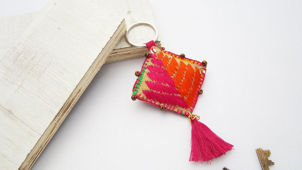 Pink and Orange Keychain