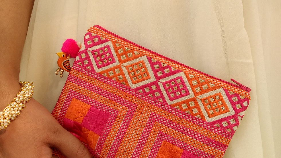 Pink Orange square embroidered Pouch