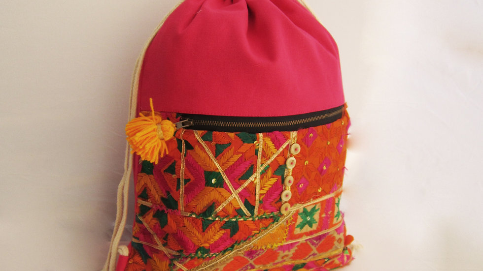 Pink upcycled Phulkari drawstring bag