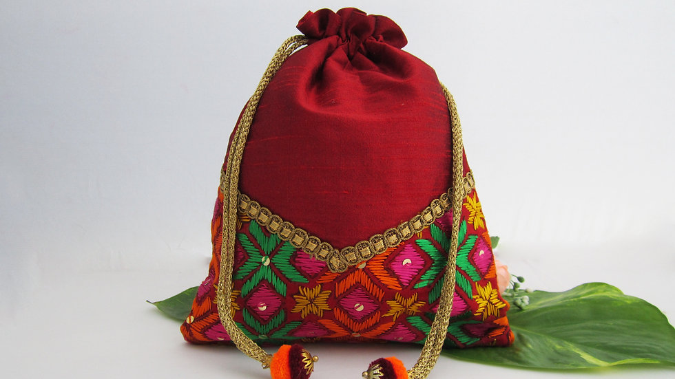 Maroon and Multi Phulkari Potli