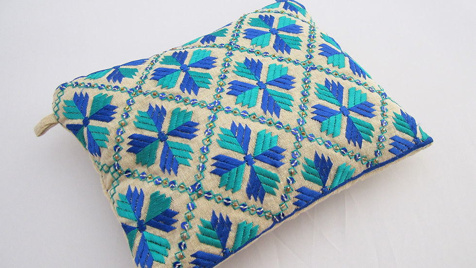 Blue 2 toned embroidered pouch