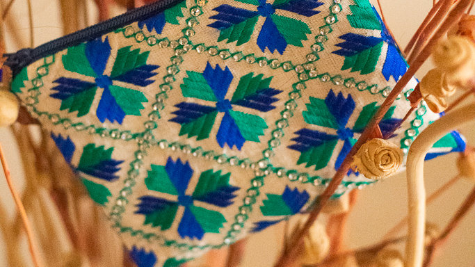 Blue Green embroidered coin pouch