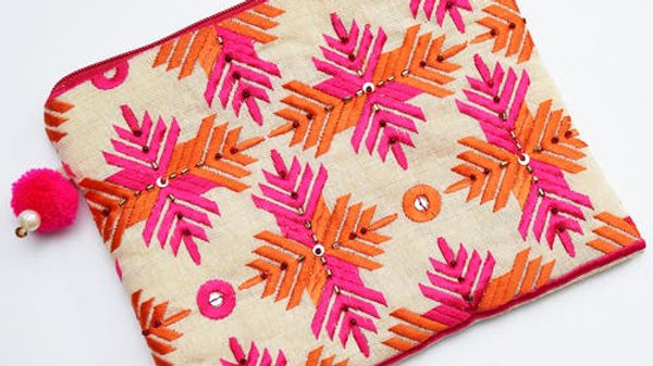 Pink and Orange embroidered Phulkari Pouch