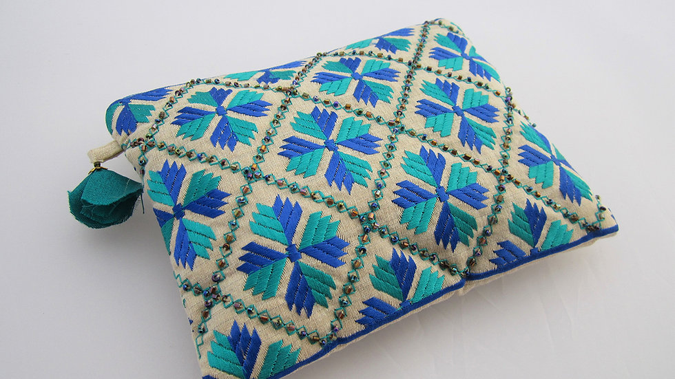 Blue Green embroidered pouch