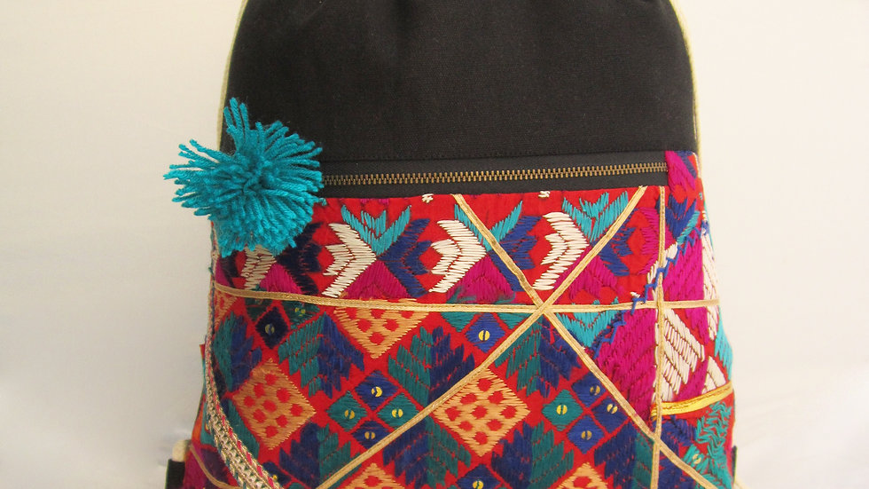 Black and Blue upcycled Phulkari drawstring bag