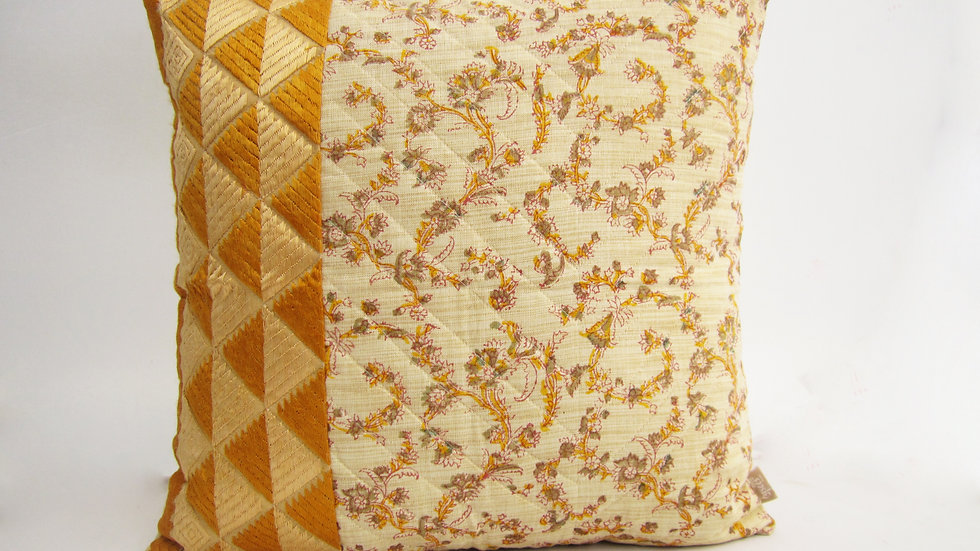 Yellow and Gold Block printed paneled Phulkari cushion cover