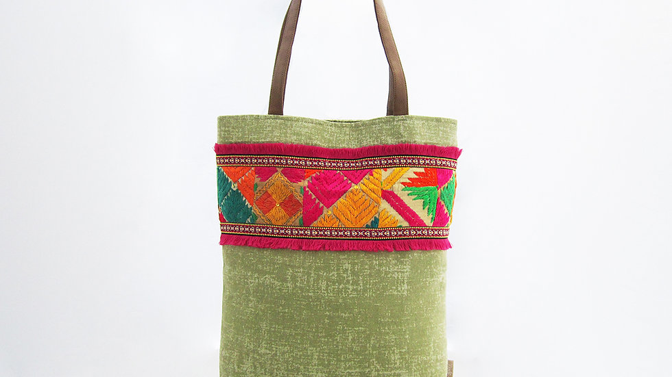 Lime Green Cotton Canvas Tote Bag