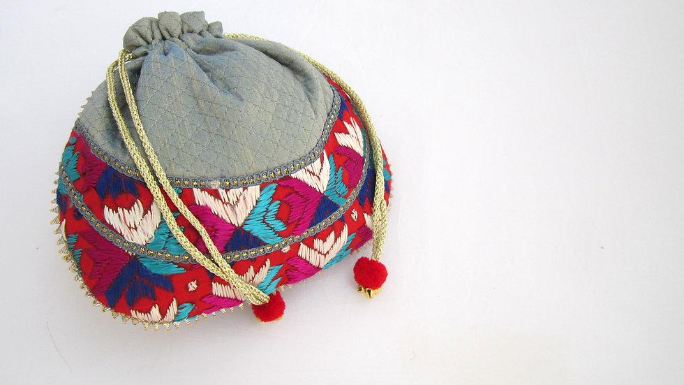 Blue Grey Phulkari embroidered potli