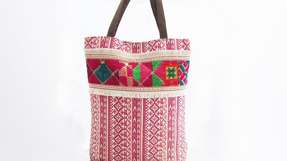 Pink Aztec Print Cotton Canvas Tote Bag