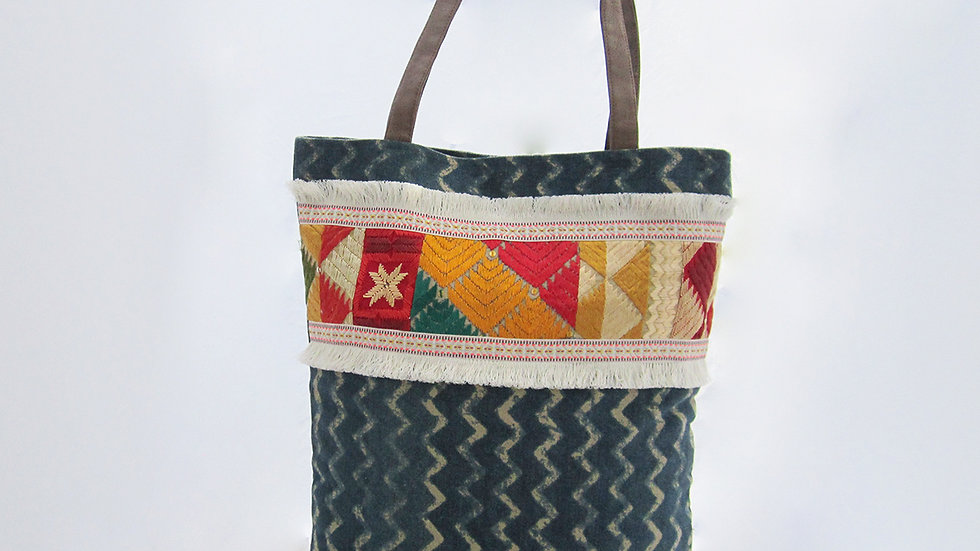 Green Cotton Canvas Tote Bag