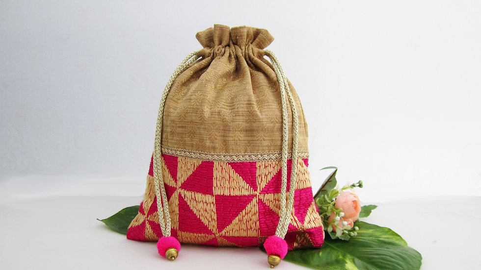 Gold and Pink Phulkari potli