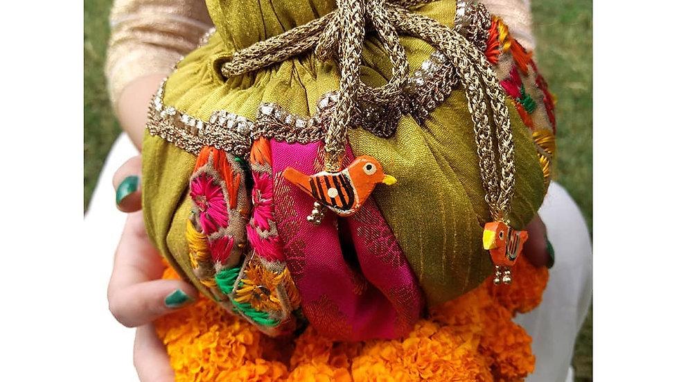 Round Green and Pink Phulkari embroidered potli