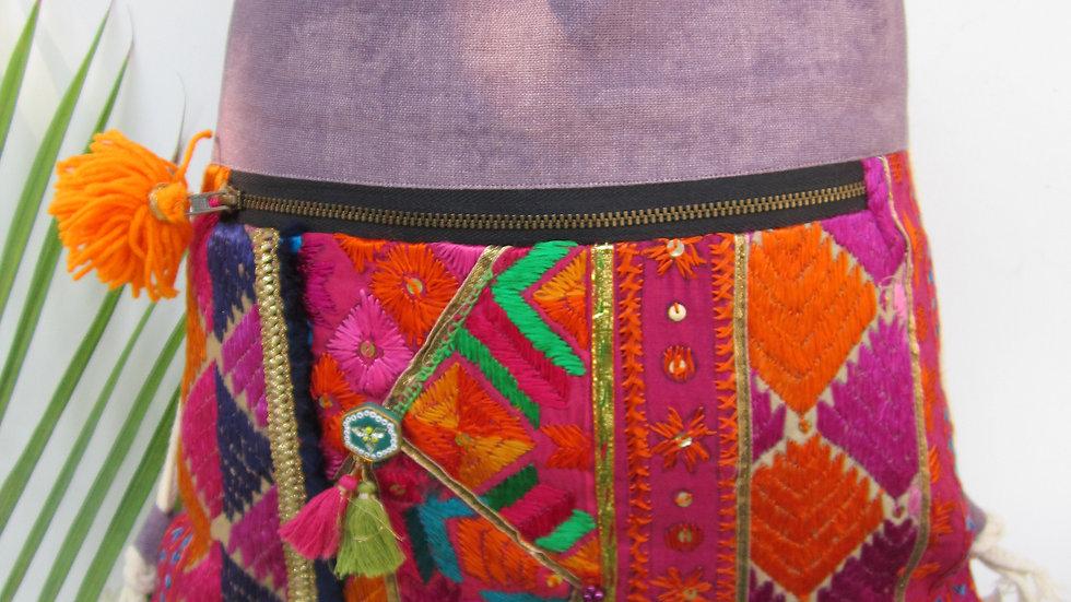 Mauve/Purple  upcycled Phulkari drawstring bag