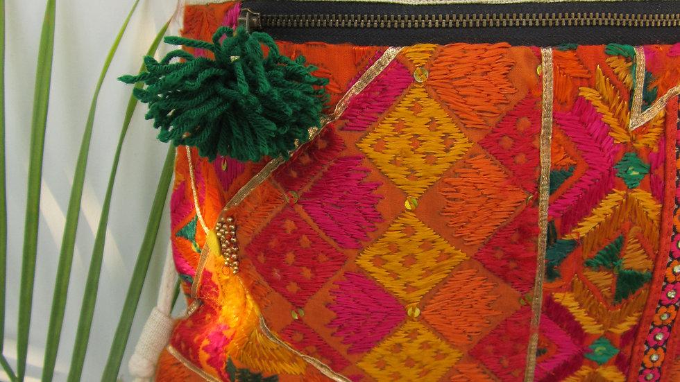 Orange upcycled Phulkari drawstring bag