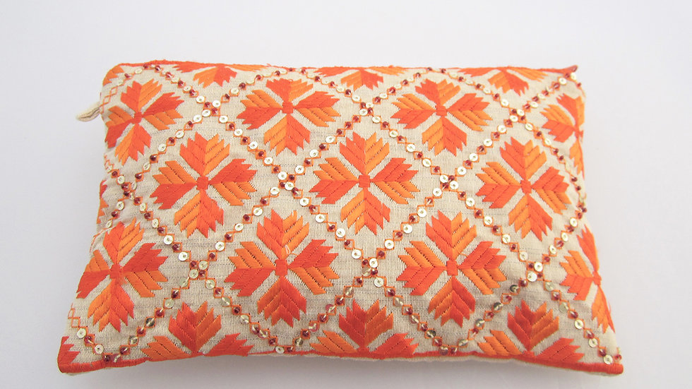 Orange 2 toned embroidered long pouch