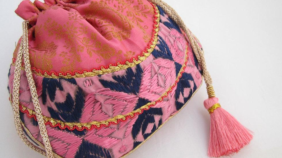 Pink Phulkari embroidered potli