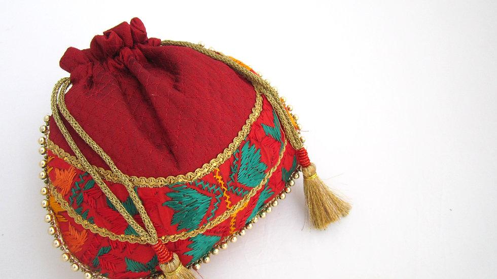 Maroon Phulkari embroidered potli