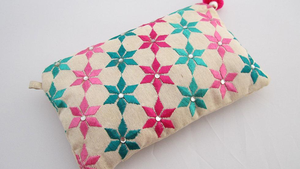 White Multi colored embroidered  pouch