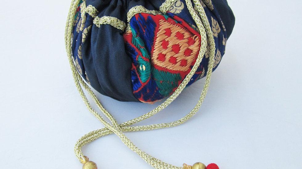 Round Royal Blue Phulkari embroidered potli