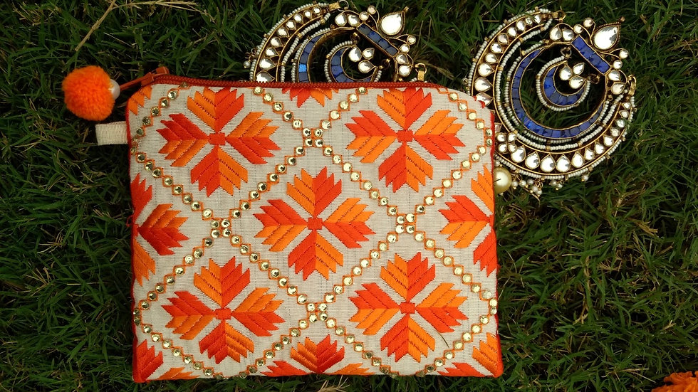 2 toned Orange embroidered coin pouch