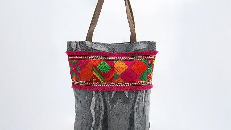 Grey Cotton Canvas Tote Bag