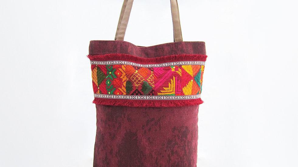 Maroon Cotton Canvas Tote Bag