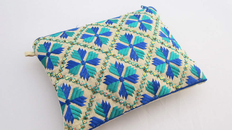 Blue 2 toned embroidered pouc