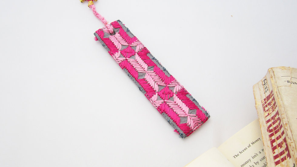 Pink and Grey Bookmark