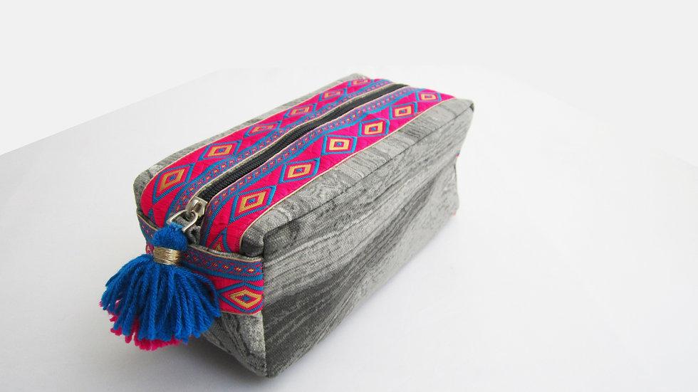 Grey marble print -Boho - Travel/cosmetic kit
