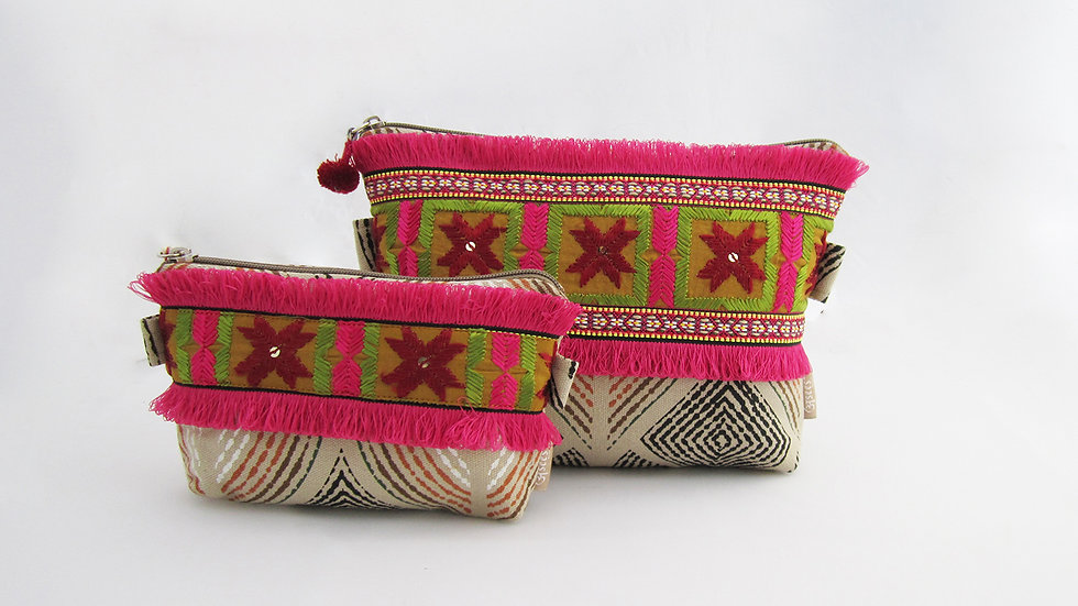 Beige Zip pouches - Set of 2