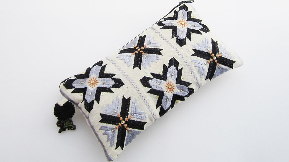 Black and Grey Phulkari Embroidered Pouch