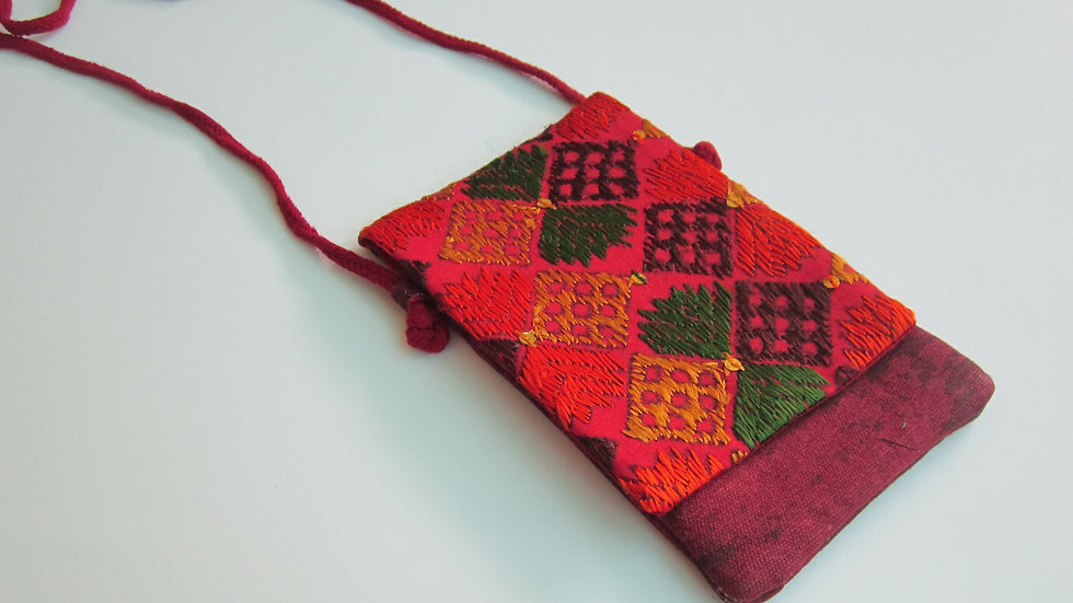Maroon Phulkari embroidered Mobile sling