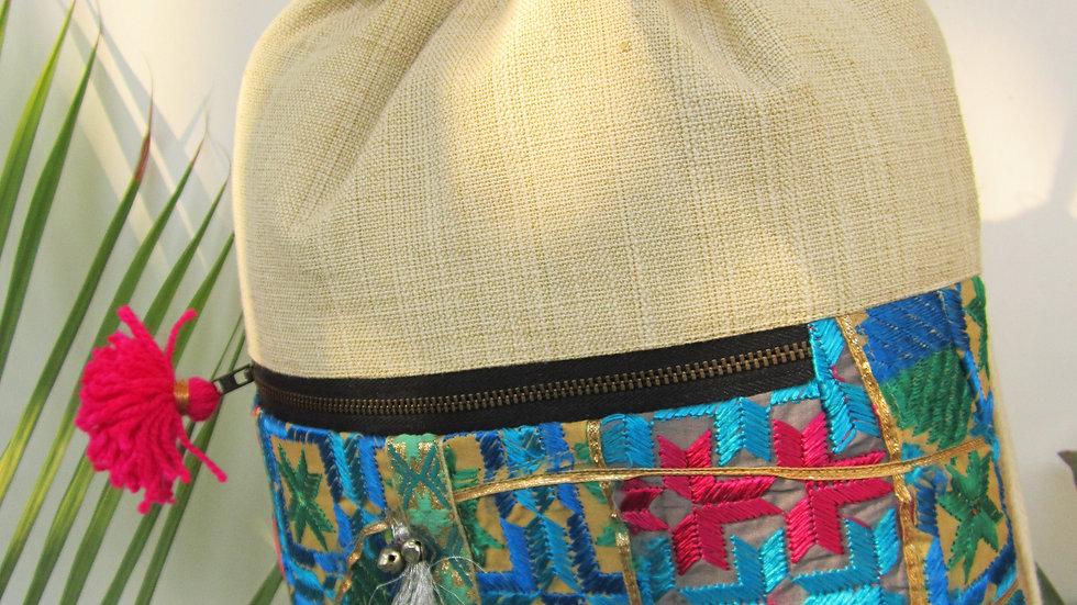 Blue upcycled Phulkari drawstring bag